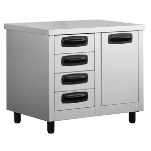 Inomak Stainless Steel 4 Drawer Unit with Storage Bin EA7104L