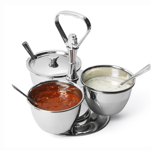 3 Bowl Stainless Steel Revolving Relish Dish