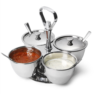 4 Bowl Stainless Steel Revolving Relish Dish