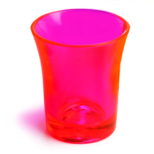 Econ Neon Red Polystyrene Shot Glasses CE 0.9oz / 25ml
