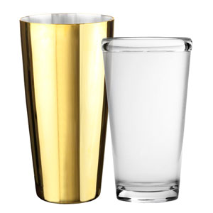 Urban Bar Gold Plated Boston Shaker Tin Polycarbonate Glass Set