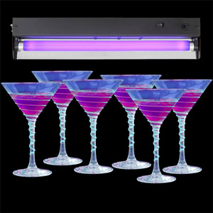 Black Light UV Tube with Black Light Cocktail Glasses 7.4oz / 210ml