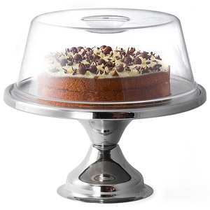 Stainless Steel Cake Stand and Plastic Cake Dome