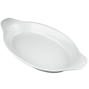 Churchill White Large Oval-Eared Dish LOED 34.5 x 19cm