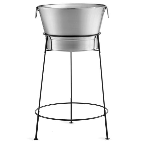 Stainless Steel Beverage Tub With Black Stand Party Tub