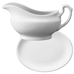 Churchill White Gravy Boat BG and Gravy Boat Stand D8