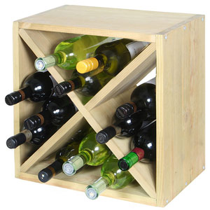 Wine Cellar Cube Natural Pine 300mm - 12 Bottle