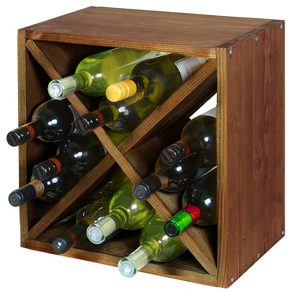 Wine Cellar Cube Dark Oak 300mm - 12 Bottle