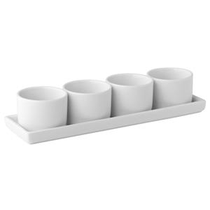 Utopia Titan Gourmet 4 Round Bowls & Tray 9inch 2oz / 6cl
