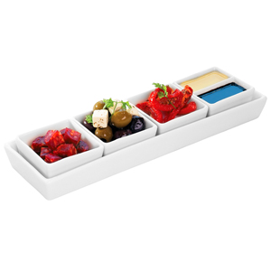 Utopia Anton Black Rectangular Tray & Shallow Square Dishes