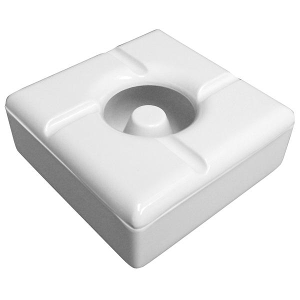 Windproof Square Melamine Ashtrays White Case of 12Wind Proof Ash Trays