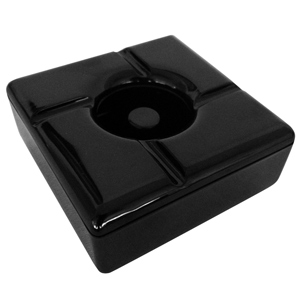 Windproof Square Melamine Ashtray Black