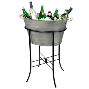 Oasis Oval Party Tub with Stand Silver