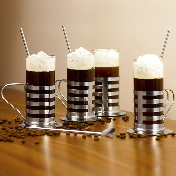 irish coffee glasses gift set striped design