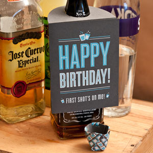 Happy Birthday Card Shot Glass Bottle Hanger
