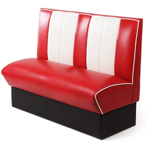 Retro Diner Booth Double Seat Red