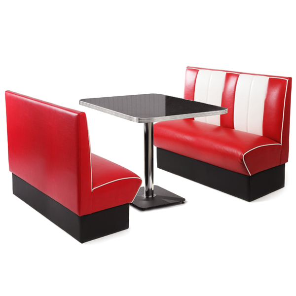 Retro Diner Booth Set Red