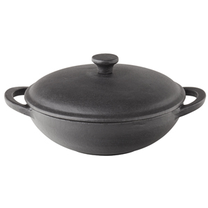 Utopia Cast Iron Mini Wok with Lid 8.5inch 20oz / 56cl