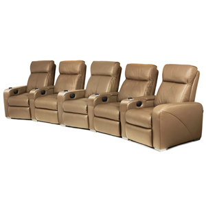 Premiere Home Cinema Seating - 5 Seater Taupe