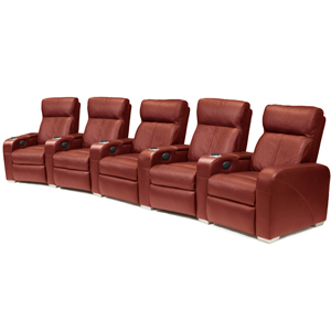 Premiere Home Cinema Seating - 5 Seater Burgundy