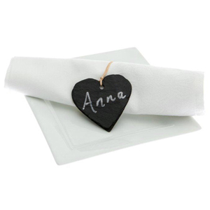 Just Slate Heart Shaped Napkin Name Tags