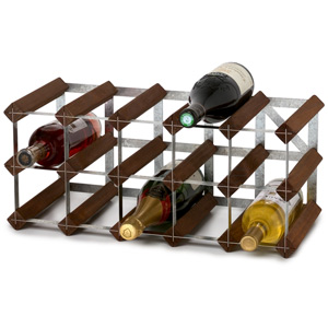Traditional Self Assembly 15 Bottle Wine Rack Dark Oak