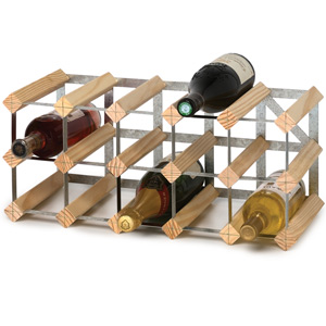 Traditional Self Assembly 15 Bottle Wine Rack Pine