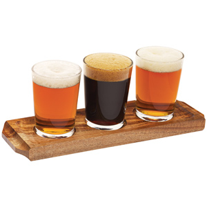 Utopia Acacia Wood Beer Flight with Beer Glasses