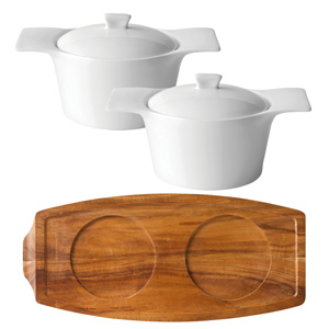 Utopia Acacia Wood Presentation Board & Anton Black Individual Casserole Dishes
