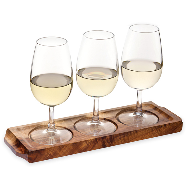 Utopia Acacia Wood Wine Flight With Wine Glasses Wooden Serving