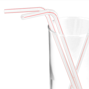 Individually Paper Wrapped Red Stripe Straws
