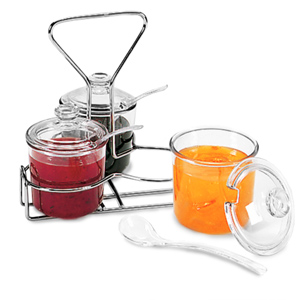 Wire Rack and 3 Glass Jam Jar Set