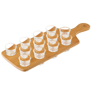 Drinks Paddle Board 12 Shot with 12 Hot Shot Glasses LCE