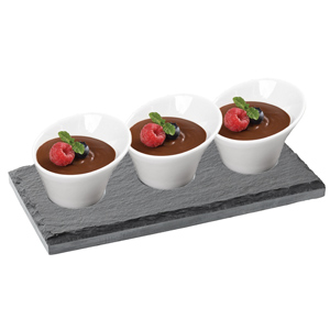 "Utopia Mineral Collection Rectangular Slate Platter with Anton Black 3"" / 8cm Elipse Bowls"