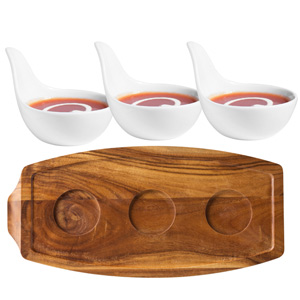 Utopia Acacia Wood Presentation Board & Anton Black Handled Tasting Dishes