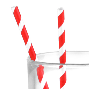 Individually Paper Wrapped Red Stripe Paper Straws