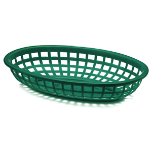 Classic Oval Food Basket Forest Green 24x15x5cm