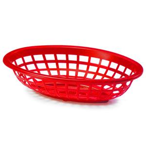 Side Order Oval Basket Red 20x14x5cm