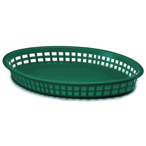 Texas Oval Platter Basket Forest Green 32x24x4cm
