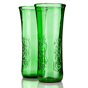 Recycled Carlsberg Export Beer Bottle Glasses 11.6oz / 330ml