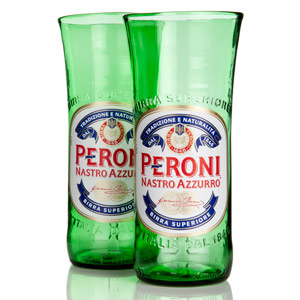 Recycled Peroni Beer Bottle Glasses 11.6oz / 330ml