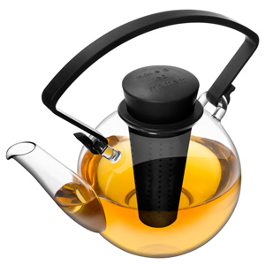 QDO Glass Infuser Teapot with Clip Handle Black 1ltr
