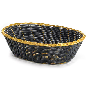 Handwoven Oval Basket Black with Gold Trim 9 x 6 x 2.5inch