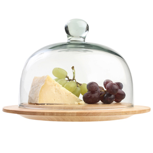 The Gift Range Hevea Cheese Board with Glass Dome Small