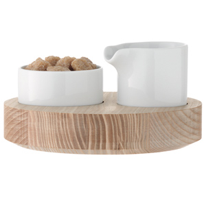 LSA Lotta Cream/Sugar Set with Ash Base 14.5cm