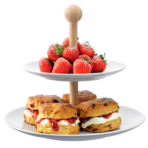 LSA Dine Tiered Cake Stand with Oak Stem 25cm