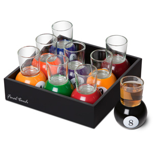 Pool Shot Glasses in Tray