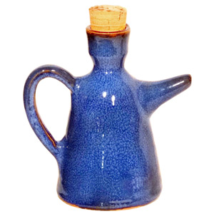Dolores Terracotta Oil Bottle Blue