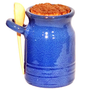 Dolores Terracotta Salt Pot with Ladle Blue
