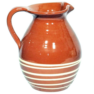 Manoli Terracotta Traditional Jug Brown with Cream Stripe 2ltr